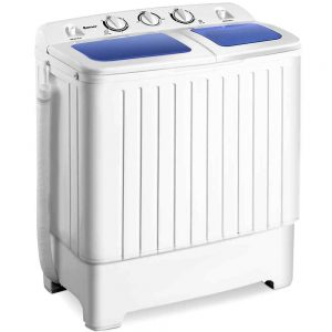 Giantex Portable washing machine Mini Compact Twin Tub Washing Machine 17.6lbs Washer Spain Spinner Portable Washing Machine, Blue+ White